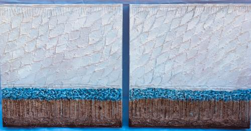 Old man and the sea (diptych 2008, 2x50x50, acryl:mixed materials on canvas)