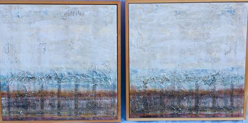 Old man and the sea-3 (diptych 2009, 2x60x60, acryl:mixed materials on canvas)