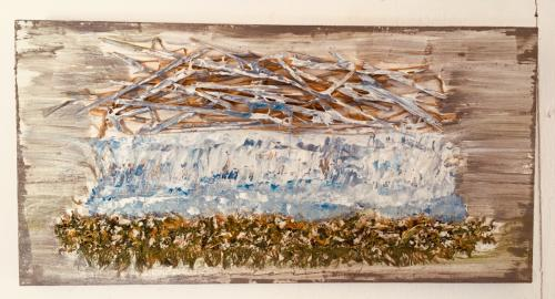 Old man and the sea-4 (diptych 2009, 1x15x30, acryl:mixed materials on oak)